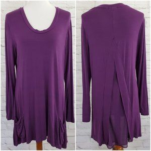 LOGO by Lori Goldstein Lagenlook Tunic Top Purple